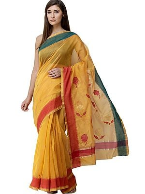 Apricot  Chanderi Sari from Madhya Pradesh with Zari-Woven Border and Floral Bootis