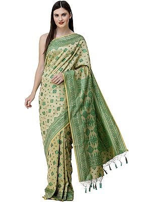 Reed-Yellow and Green Sari from Assam with Woven Motifs