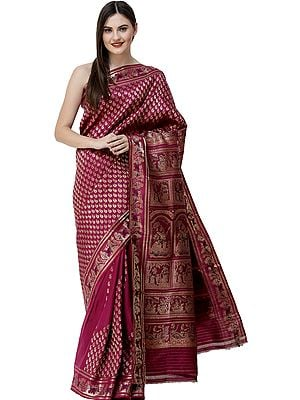 Boysenberry Baluchari Sari from Bengal with Woven Bootis and Mahabharta Episodes on Pallu