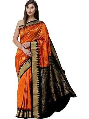 Orange-Ochre Brocaded Uppada Sari from Bangalore with Zari Woven Motifs and Temple Border