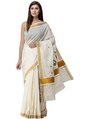 Cream Kasavu Sari from Kerala with Embroidered  Motifs and Golden Border