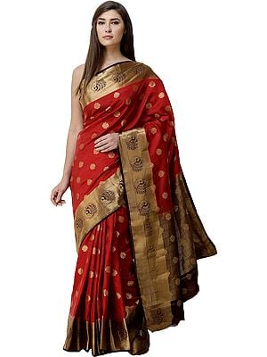 Bittersweet-Red Sari from Bangalore with Zari-Woven Bootis and  Peacocks on Border