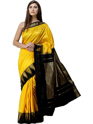 Freesia-Yellow Uppada Sari from Bangalore with Zari Woven Bootis and Temple Border