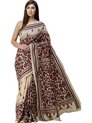 Bleached-Sand Sari from Bengal with Kantha Hand-Embroidered Flowers All-Over