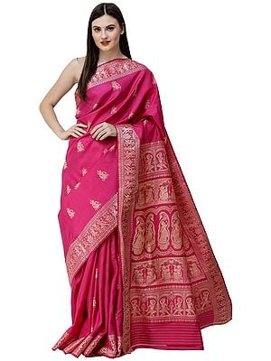 Very-Berry Baluchari Sari from Bengal with Woven Apsaras on Border and Pallu