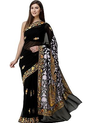 Pirate-Black Sari from Kashmir with Ari-Embroidered Flowers and Paisleys