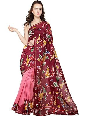 Rumba-Red and Pink Batik Sari from Madhya Pradesh with Printed Fishes