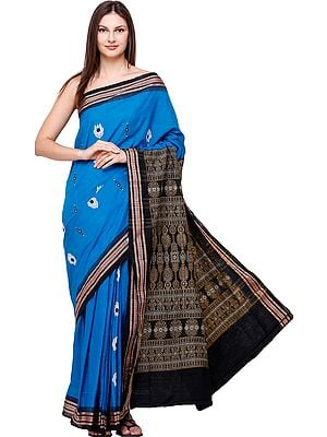 Swedish-Blue Bomkai Sari from Orissa with Motifs and  Hand-Woven Bootis on Pallu