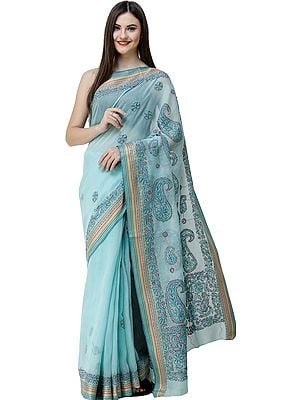 Blue-Tint Lukhnavi Chikan Sari from Lucknow with Hand-Embroidered Paisleys and Woven Border