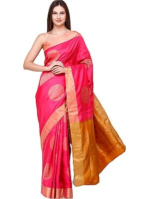 Raspberry-Pink Brocaded Uppada Sari from Bangalore with Hand-Woven Giant Bootis