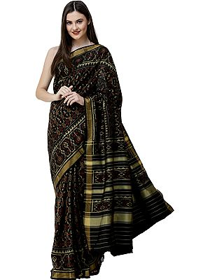 Phantom-Black Patola Sari from Patan with Ikat Weave All-Over