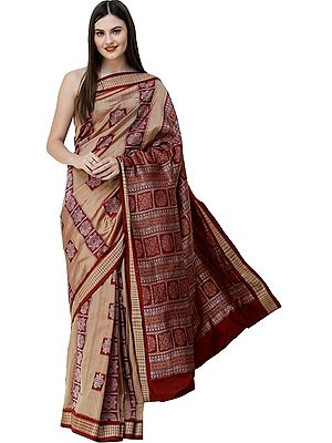 Lark Bomkai Handloom Sari from Orissa with Woven Strips and Box Design