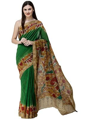 Fairway-Green Kalamkari Sari from Telangana with Goddess Holding Diyas on Anchal