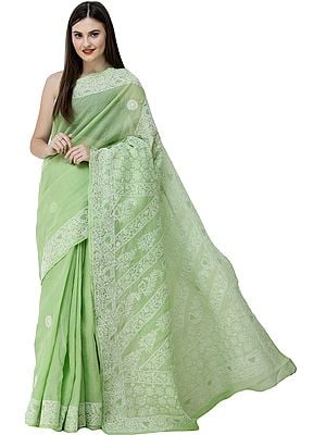 Arcadian-Green Sari from Lucknow with Chikan Hand-Embroidered Flowers on Anchal