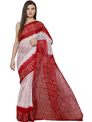 Red and White Bandhani Tie-Sye Sari from Gujarat