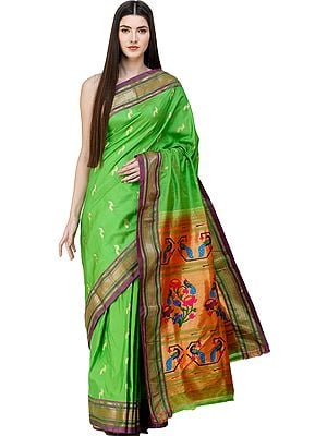 Classic-Green Brocaded Paithani Sari with Hand-woven Peacocks and Lotuses