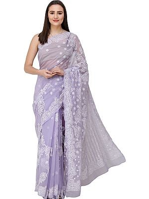 Heirloom-Lilac Sari from Lucknow with Chikan Hand-Embroidered Flowers and Paisleys