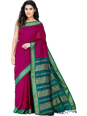 Kanji-Cotton Sari from Chennai with Zari-Woven Peacocks on Pallu