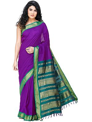Kanji-Cotton Sari from Chennai with Zari-Woven Peacocks on Pallu