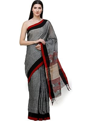 Slate-Gray Handloom Sari from Bengal with Jute Weave on Pallu