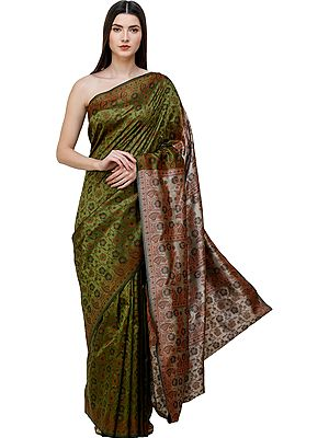 Sari from Banaras with Woven Floral Vines
