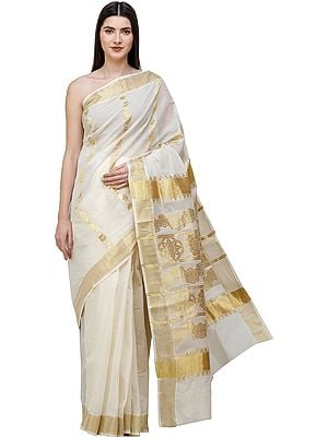 Cream Kasavu Sari from Kerala with Woven Golden Flowers on Anchal and Temple Border
