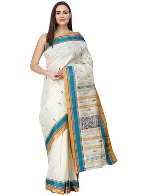 Banana-Cream Garad Sari from Bengal with Woven Pallu and Golden Border