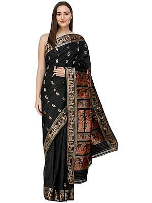 Jet-Black Baluchari Sari from Bengal with Woven Mythological Episodes on Anchal