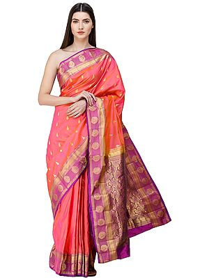 Sunkist-Coral Brocaded Uppada Sari from Bangalore with Zari-Woven Bootis on Border and Pallu