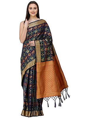 Gharchola Sari from Gujarat with Zari-Woven Elephants and Peacocks