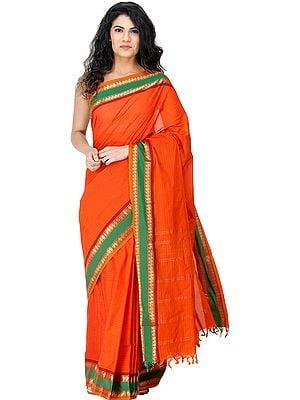 Kanji-Cotton Sari from Chennai with Zari-Woven Animals on Border and Pin-Stripes