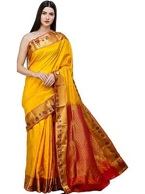 Lemon-Chrome Brocaded Sari from Bangalore with Self-Weave and Lotusses  on Border