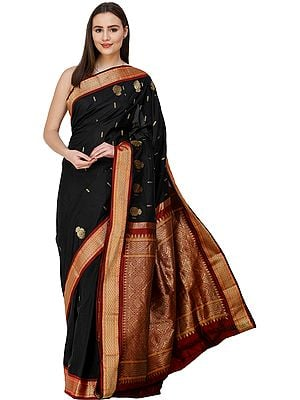 Caviar-Black Kanjivaram Sari from Bangalore with Zari-Woven Motifs on Anchal