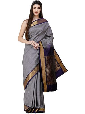 Blue-Ribbon Kanjivaram Sari from Bangalore with Zari-Woven Pallu and Checks