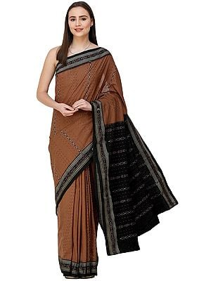 Mocha-Mousse Sambhalpuri Sari from Orissa with Woven Strips and Bootis on Pallu