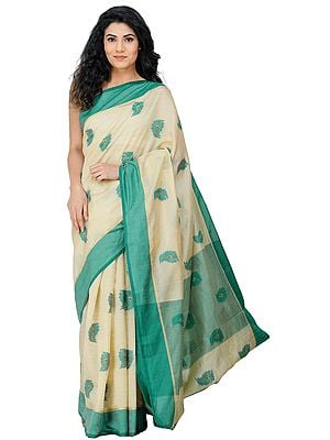 Kanji Cotton Sari from Tamil Nadu with Woven Peacock Feathers All-Over