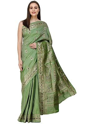 Green-Eyes Baluchari Sari from Bengal with Hand-Woven Mahabharta Episodes on Anchal