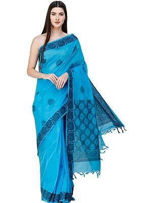 Aquarius-Blue Kanji Cotton Sari from Chennai with Woven Flowers