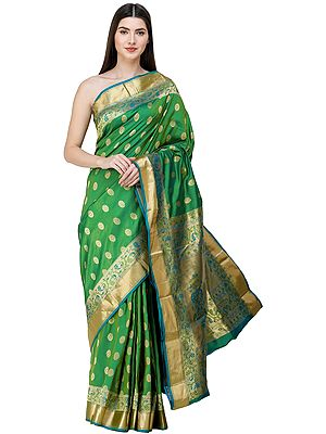 Vibrant-Green Meenakari Sari from Banaras with Zari-Woven Peacock Motifs on Anchal