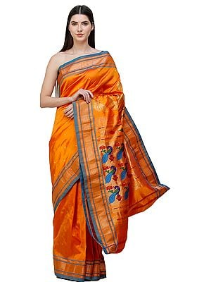 Amberglow Brocaded Paithani Sari from Maharashtra with Hand-woven Peacocks on Anchal
