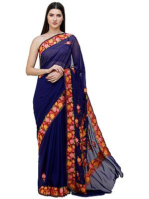 Deep-Ultramarine Sari from Kashmir with Ari-Embroidered  Flowers
