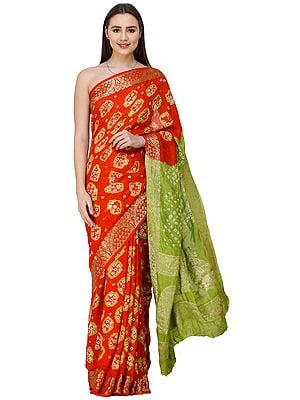 Bandhani Tie-Dye Sari from Gujarat with Zari-Woven Border and Pallu