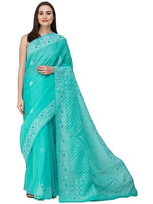 Bright-Aqua Sari from Lucknow with Chikan Hand-Embroidered Jaal