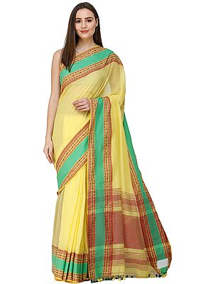Aurora-Yellow Puja Sari from Kolkata with Woven Bootis on Border and Stripped Pallu