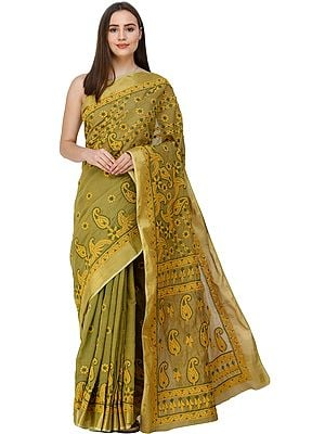 Willow-Green Sari from Lucknow with Golden Border and Chikan Hand-Embroidery