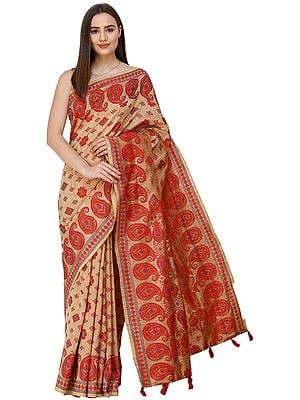 Champagne-Beige Sari from Assam with Woven Motifs