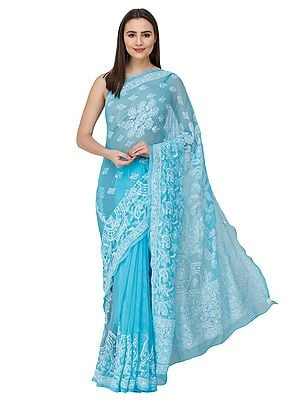 River-Blue Sari from Lucknow with Chikan Hand -Embroidery
