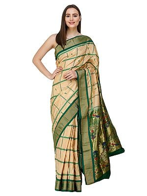 Almond-Buff Uppada Sari from Bangalore with Fusion Paithani Anchal