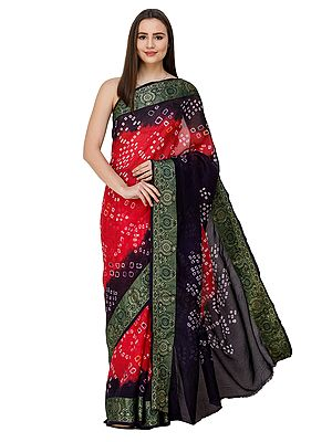Bright-Rose and Violet Bandhani Sari from Rajasthan with Zari Weave on Border