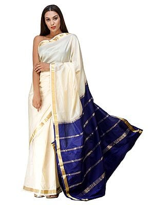 Oyster-White and Blue Uppada Sari from Bangalore with Woven Stripes on Anchal
